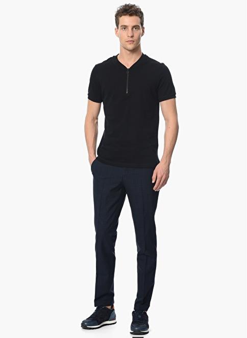 Que Slim Fit Fermuarlı Tişört Siyah